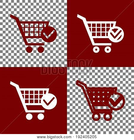 Shopping Cart with Check Mark sign. Vector. Bordo and white icons and line icons on chess board with transparent background.