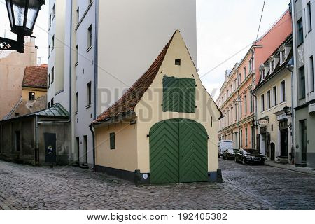 Crossroad Of Medieval Streets In Old Riga Town