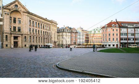 Tourists On Doma Laukums (duomo) Square