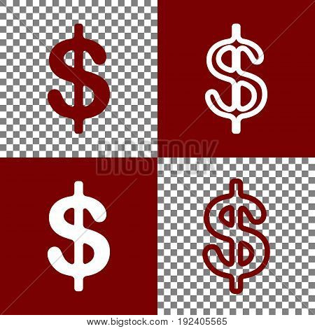 Dollars sign illustration. USD currency symbol. Money label. Vector. Bordo and white icons and line icons on chess board with transparent background.