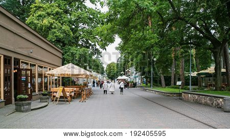 Tourists On Street Jomas Iela In Jurmala Town