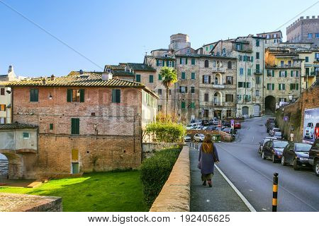 Street In Old Residential District In Siena