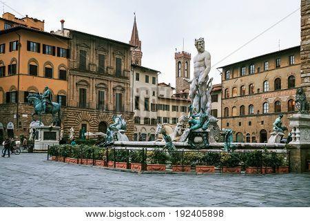 Piazza Della Signoria In Florence City In Winter