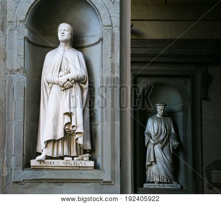 Statues In The Uffizi Outside Gallery In Florence