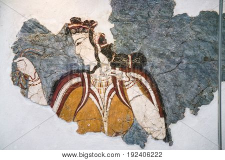 Ancient Minoan Fresco From Thera In Museum
