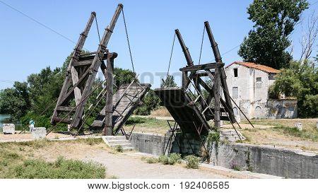 Tourists Near Pont Van Gogh In Arles