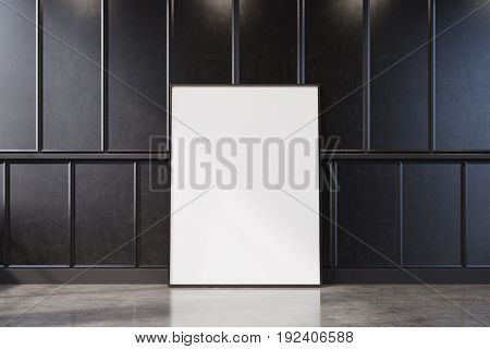 Black Wood Empty Room With A Vertical Poster