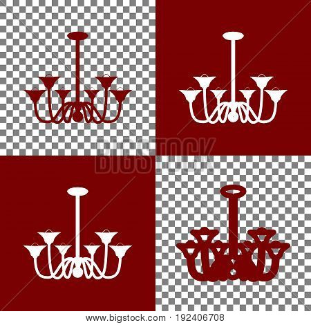 Chandelier simple sign. Vector. Bordo and white icons and line icons on chess board with transparent background.
