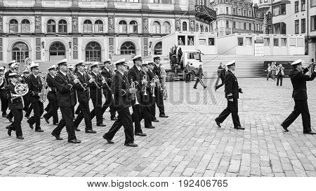 Military Band On Square In Old Riga Town