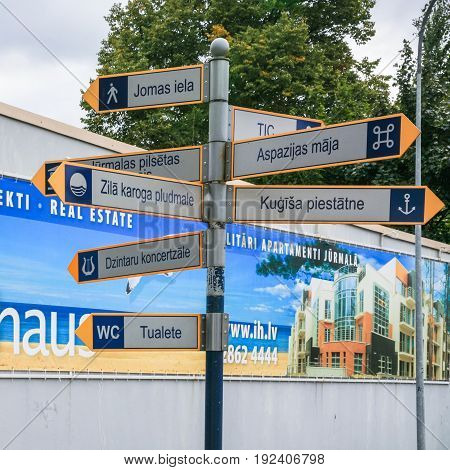 Waymark On Street Of Jurmala Town