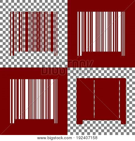 Bar code sign. Vector. Bordo and white icons and line icons on chess board with transparent background.