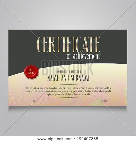 Diploma of achievement appreciation vector blank. Template illustration for certificate of appreciation with letterpress stamp and modern design