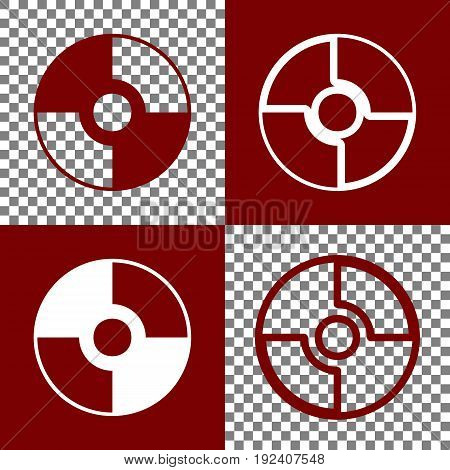 Vector CD or DVD sign. Vector. Bordo and white icons and line icons on chess board with transparent background.