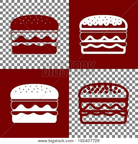 Burger simple sign. Vector. Bordo and white icons and line icons on chess board with transparent background.