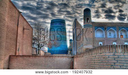 Exterior view to Kalta Minor minaret at Itchan Kala in Khiva Uzbekistan