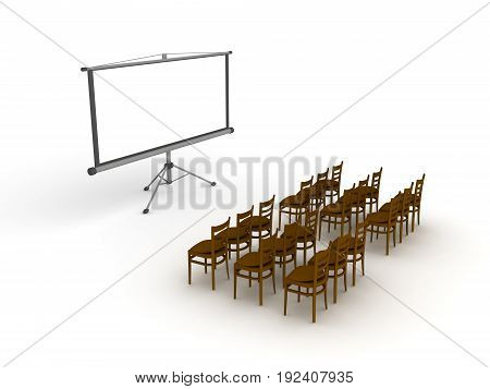 3D illustration of empty meeting room with projector screen. Isolated on white.