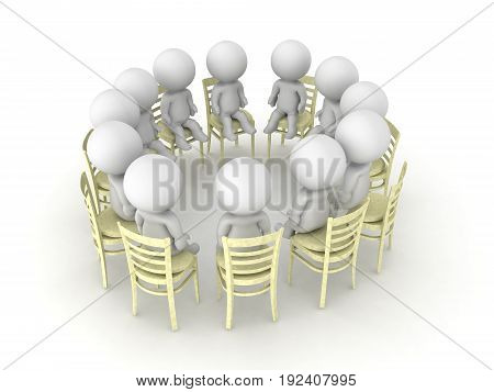 3D illustration from an angle of a twelve step program help group. Isolated on white.