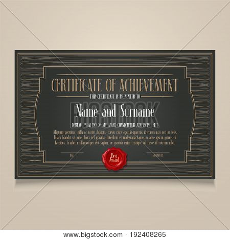 Certificate of achievement, appreciation vector design. Template illustration as a blank for diploma of appreciation in retro style