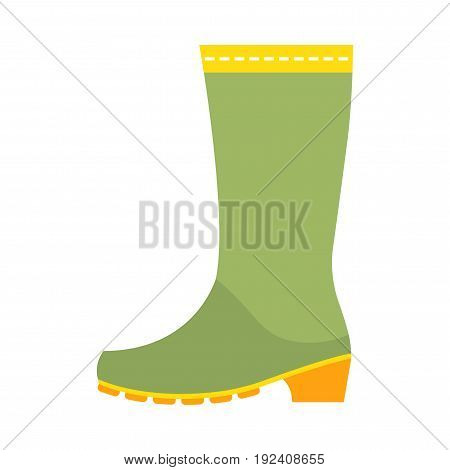 Rubber boots, protective shoes. Flat color icon or object of clothing to design. Illustration