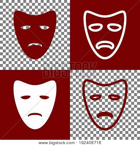 Tragedy theatrical masks. Vector. Bordo and white icons and line icons on chess board with transparent background.