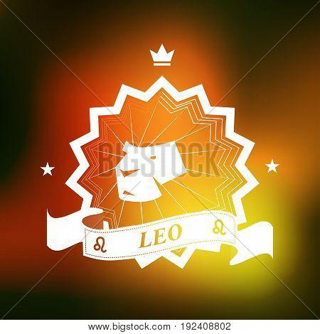 Leo Zodiac sign, Horoscope, tattoo, vintage badge, vector illustration