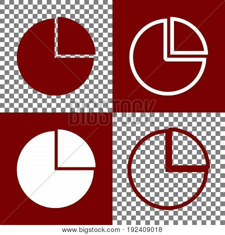 Business graph sign. Vector. Bordo and white icons and line icons on chess board with transparent background.