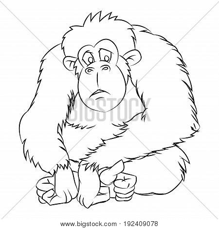 Hand drawn sketch of Ape isolated, Black and White Cartoon Vector Illustration for Coloring Book - Line Drawn Vector