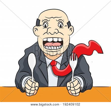 Cartoon of Hungry Businessman was angry and waiting food -Vector Illustration