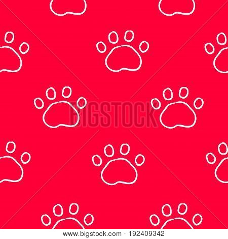 Seamless pattern with contour trail paws. Ornament for bandanas. Vector background.