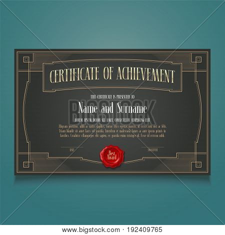 Diploma of achievement, appreciation vector blank. Template illustration for certificate with letterpress and stamp