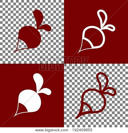 Radish simple sign. Vector. Bordo and white icons and line icons on chess board with transparent background.