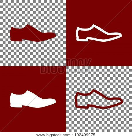 Men Shoes sign. Vector. Bordo and white icons and line icons on chess board with transparent background.