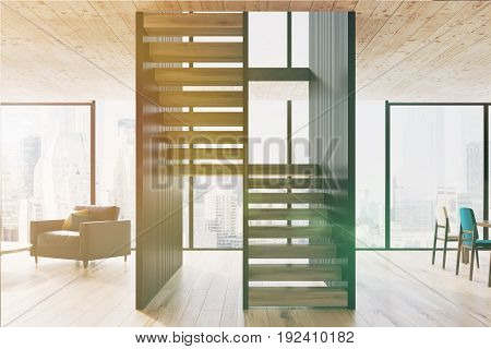 Two level living room interior with a wooden floor and ceiling a leather armchair with two pillows two colorful chairs and a panoramic window. 3d rendering mock up toned image