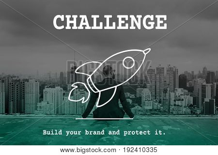 Challenge and spaceship graphic with businessman background