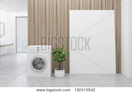 Wooden bathroom interior with a washing machine a concrete floor a tree in a pot a sink and a tub. A poster and a panoramic window. 3d rendering mock up