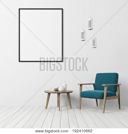White textured wall living room interior with a white floor a blue armchair a coffe table with book and bottles and a vertical framed poster. 3d rendering mock up