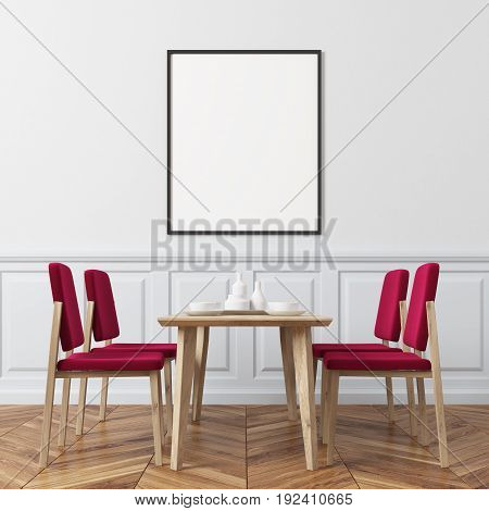 Dining room interior with white walls and a vertical poster hanging above a table with red chairs aroung it. 3d rendering mock up
