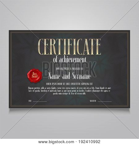 Template certificate of appreciation vector illustration. Design elements for diploma of achievement with stamp, letterpress, bodycopy