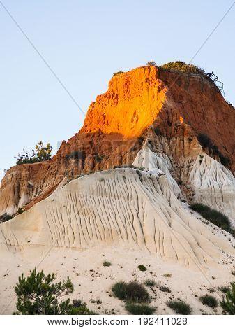 Slope Of Sandstone Mountain Near Albufeira City