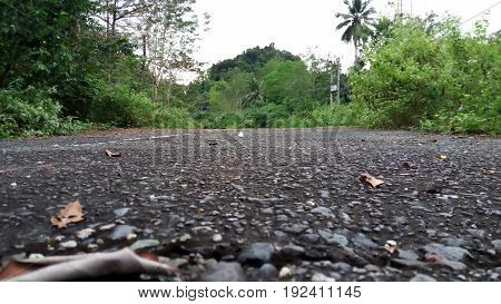 The state of the road that has long been abandoned