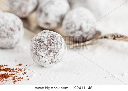 Closeup Chocolate Truffles With Sugar Powder