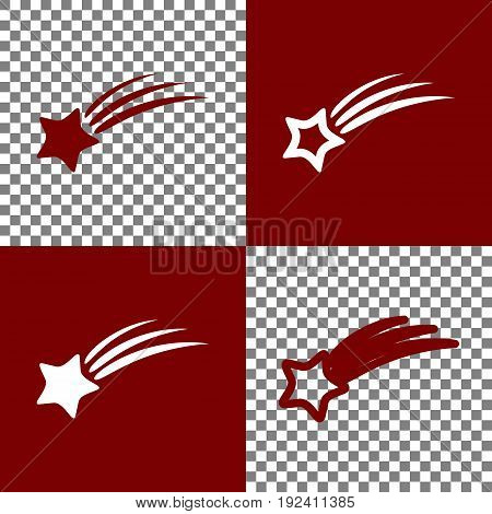 Meteor shower sign. Vector. Bordo and white icons and line icons on chess board with transparent background.