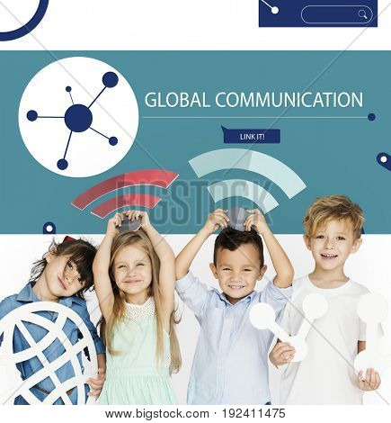 Children connected by global network communication technology