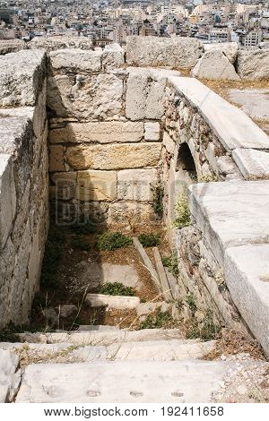 Sewage Pipe In Acropolis And Above View Of Athens