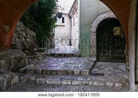 Gateway On Street In Medieval Town Eze