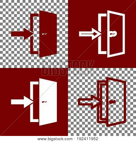 Door Exit sign. Vector. Bordo and white icons and line icons on chess board with transparent background.