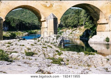 Supports Of Ancient Roman Aqueduct Pont Du Gard