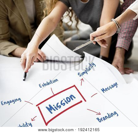 Workers working on banner network graphic overlay