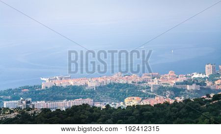 Above View Of Town On Coast Of Ligurian Sea
