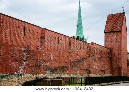Restored Section Of Riga Old City Walls In Autumn